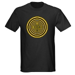 black and yellow circles t-shirt